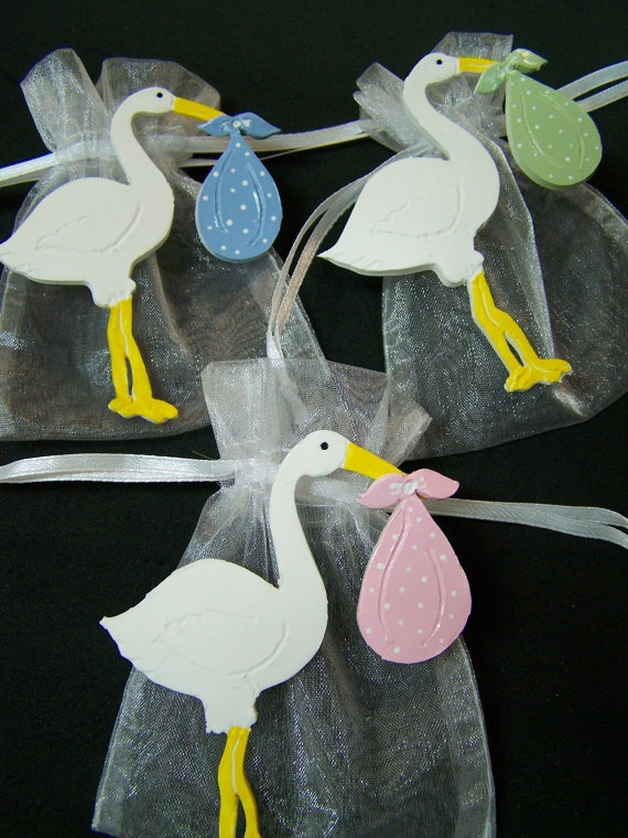 Stork baby shower party favor bags - but we could do something with a flamingo?