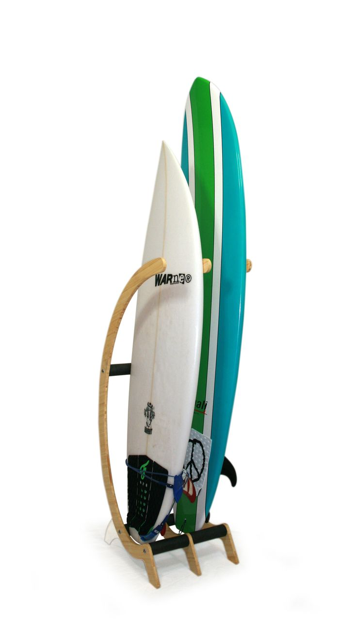 Freestanding modular surfboard storage rack designed for any room in the house. A funky design that would be a perfect compliment to any beach decor.