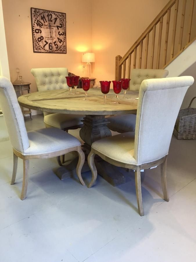 Grey pale rustic round dining table would look great with for Looking for round dining table