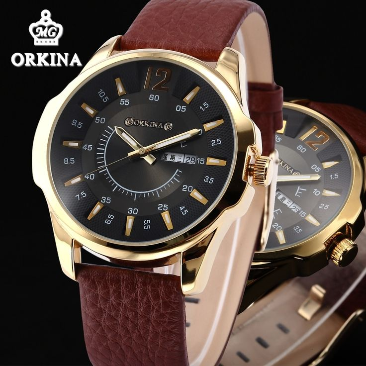 18.91$  Watch here - http://ali9s6.shopchina.info/go.php?t=32612035016 - Orkina Mens luxury Gold Quartz Watch Men Zegarki Meskie 2016 Fashion Business Auto Date Day Calendar Brown Leather Wrist Watches 18.91$ #aliexpresschina