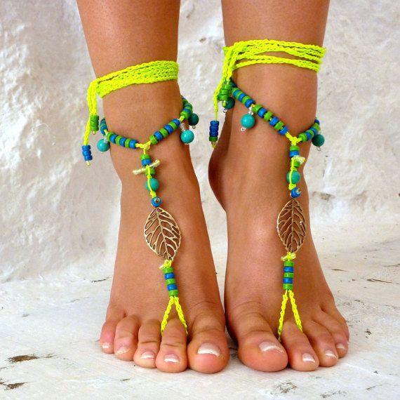 Barefoot Sandals Barefoot Beach neon green  Jewelry Seashells and gemstones Hippie Sandals Foot Jewelry Toe Thong