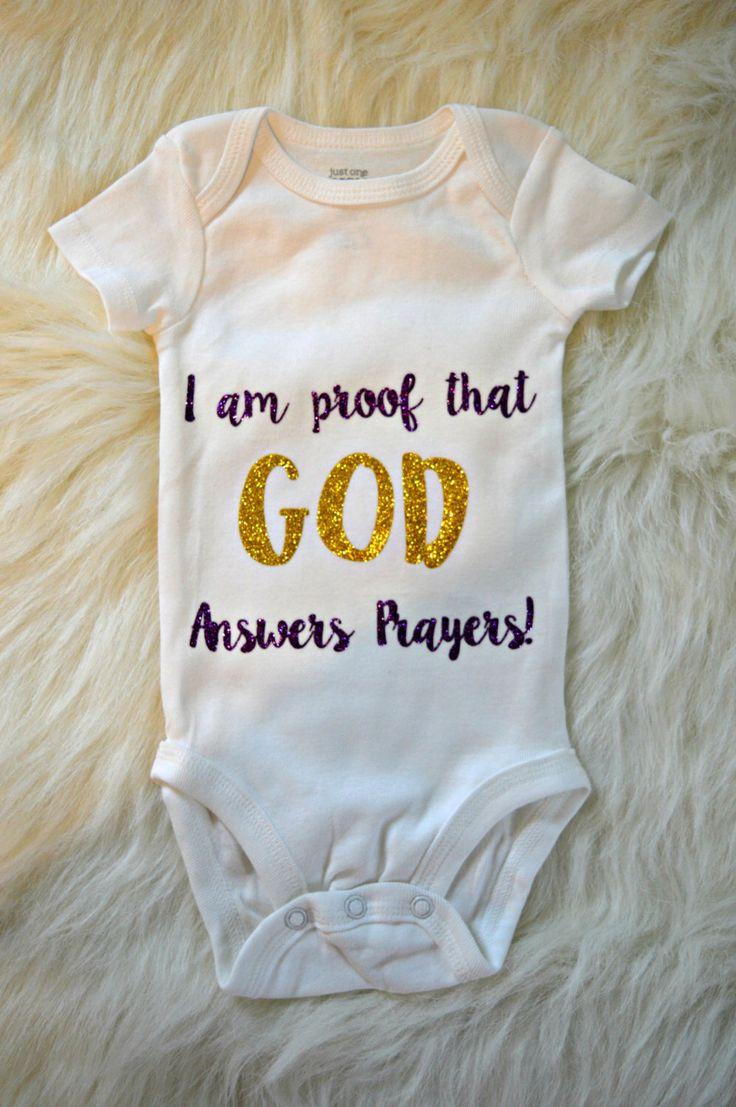 God Answers Prayers Onesie by StringsAttachedNC on Etsy https://www.etsy.com/listing/271290416/god-answers-prayers-onesie