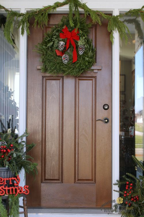 Christmas Front Porch Decorating with Porch Pots and Fresh