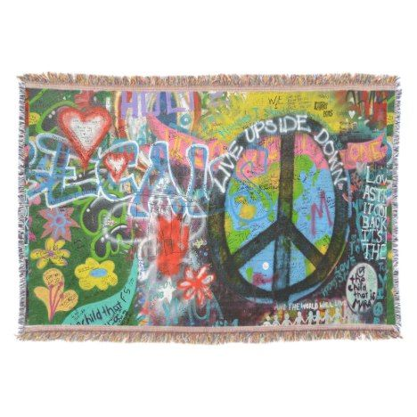 Live Upside Down Peace Sign Wall Throw