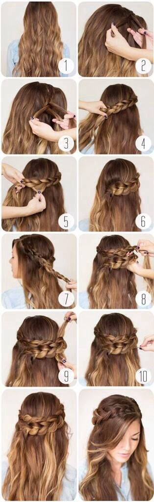Romantic Braided Crown Hairstyle Tutorial I did this to Gracelyn Rose hair for church without seeing it on pintrest