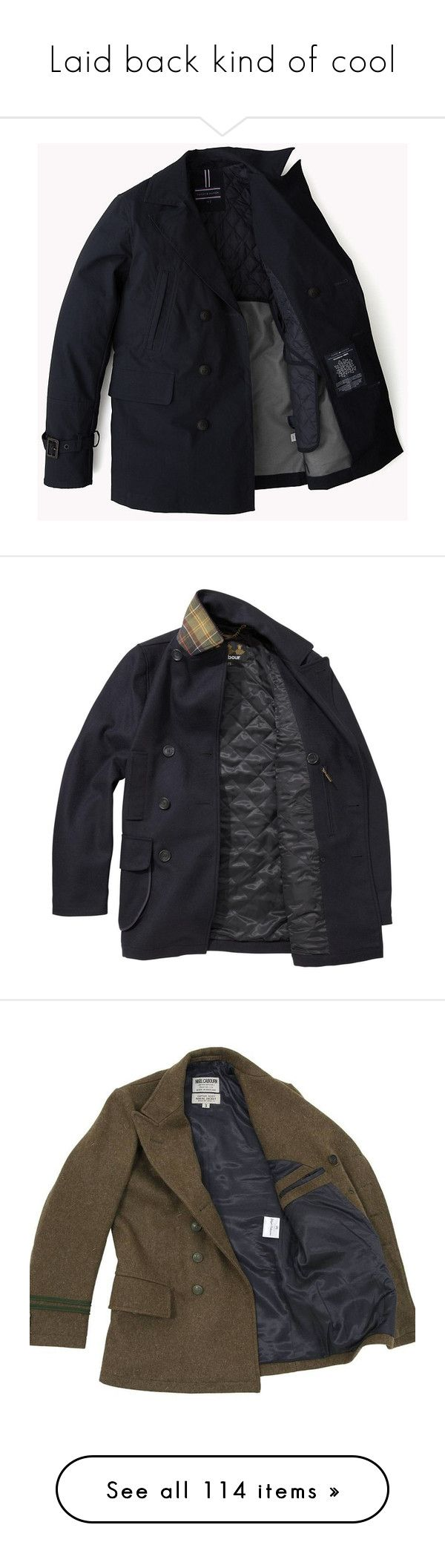 """Laid back kind of cool"" by orenjimari ❤ liked on Polyvore featuring men's fashion, men's clothing, men's outerwear, men's coats, jackets, men, outerwear, mens double breasted coat, mens wool military coat and mens double breasted pea coat"