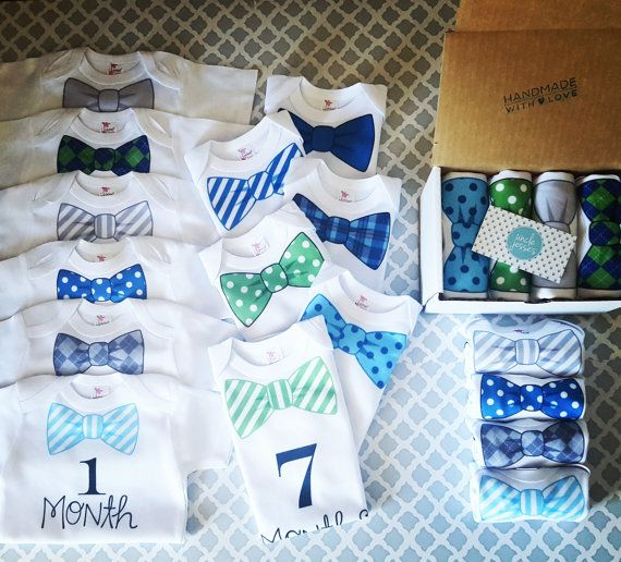 1 through 12 month Monthly Onesie Set by UncleJesses on Etsy  1 through 12 month Monthly Onesie Set (green/blue/grey color scheme) - 12 Month Onesie Set, 0-12 Month, Instagram Baby, Monthly Update  Clothing  Unisex Kids' Clothing  Bodysuits  1-12 month onesies  monthly photos  baby shower gift  for baby boy  bowtie watch me grow  calendar onesies  tie  Dapper Baby  Instababy  Growth Chart  Baby Shower Decor