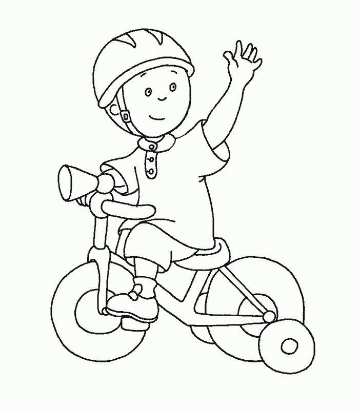 Kleurplaat: Op fiets