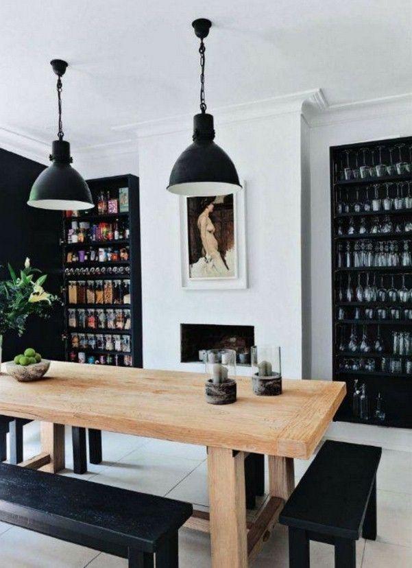 un beau banc de bois dans les idées de conception de salle à manger