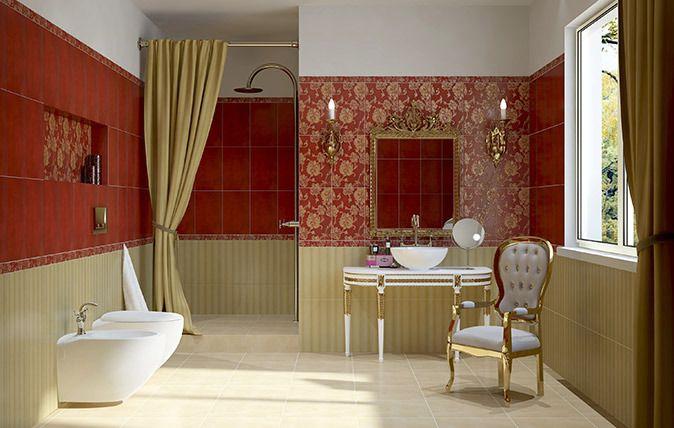 Łazienka z czerwonymi płytkami.  red, inspiration, interior, remont  https://www.facebook.com/CeramikaParadyz  http://www.paradyz.com/plytki/lazienkowe/petersburg-peter