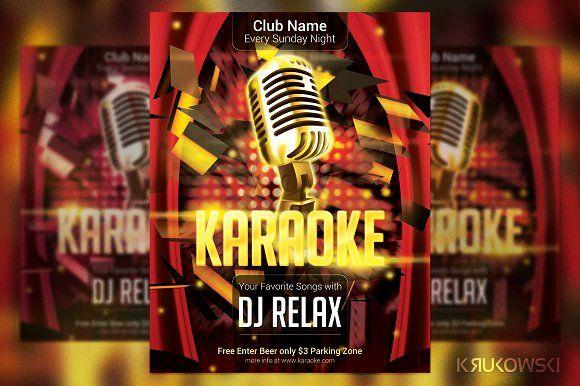 Karaoke Club Flyer by Krukowski Graphics on @creativemarket