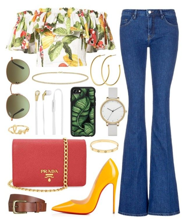"""Untitled #239"" by daneecalifornia ❤ liked on Polyvore featuring Isolda, Victoria, Victoria Beckham, Christian Louboutin, Prada, Will Leather Goods, Ray-Ban, Sydney Evan, Skagen, Dyrberg/Kern and Anne Sisteron"