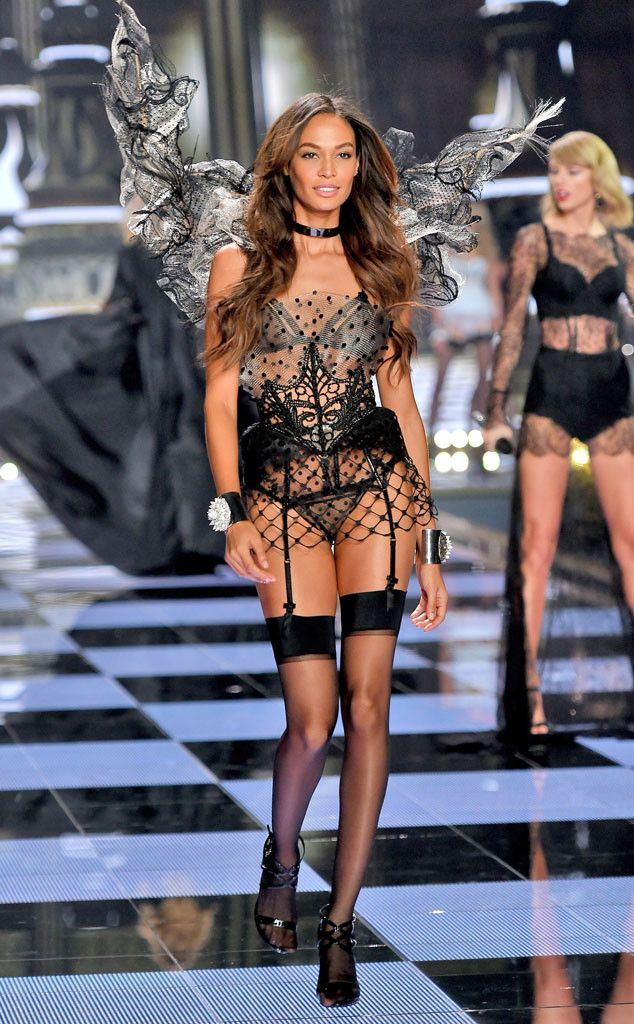 Joan Smalls from 2014 Victoria's Secret Fashion Show  She's back in black! The supermodel makes a (nearly) show-stopping appearance on the Victoria's Secret runway.
