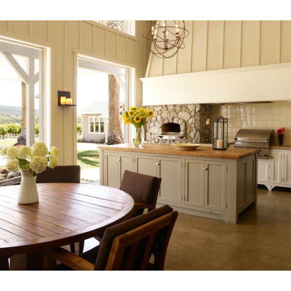 kitchens - stone pizza oven white kitchen cabinets gray kitchen island... ❤ liked on Polyvore