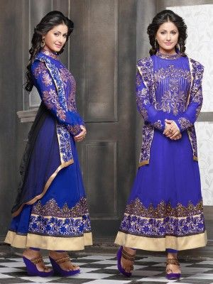 Blue Semi Georgette Lovely Anarkali Salwar Kameez           Eid in india