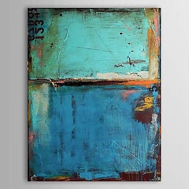 Oil Paintings Vintage Abstract Blue Color with Numbers  Hand-painted Canvas Ready to Hang - CAD $ 59.54