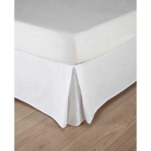 Cache-sommier 160 x 200 cm en lin lavé blanc