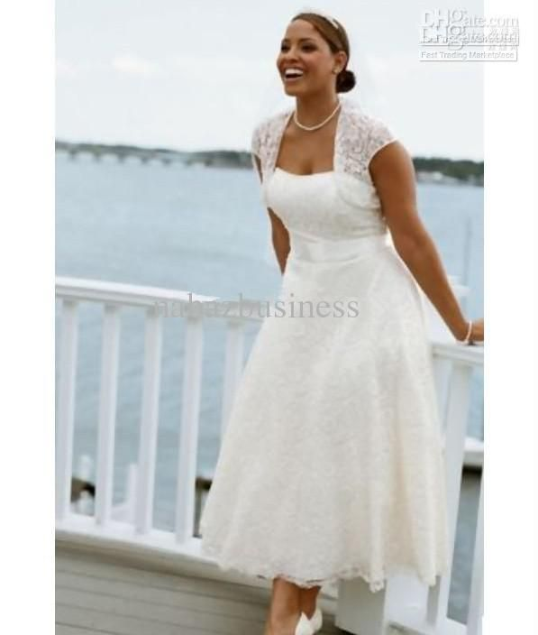 Hot Selling Tea Length A Line Lace Bridal Dresses Plus Size Gowns Cap Sleeves Beach Wedding