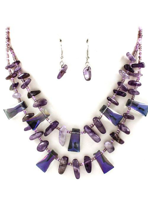 Multi Layered Amethyst Necklace on Emma Stine Limited