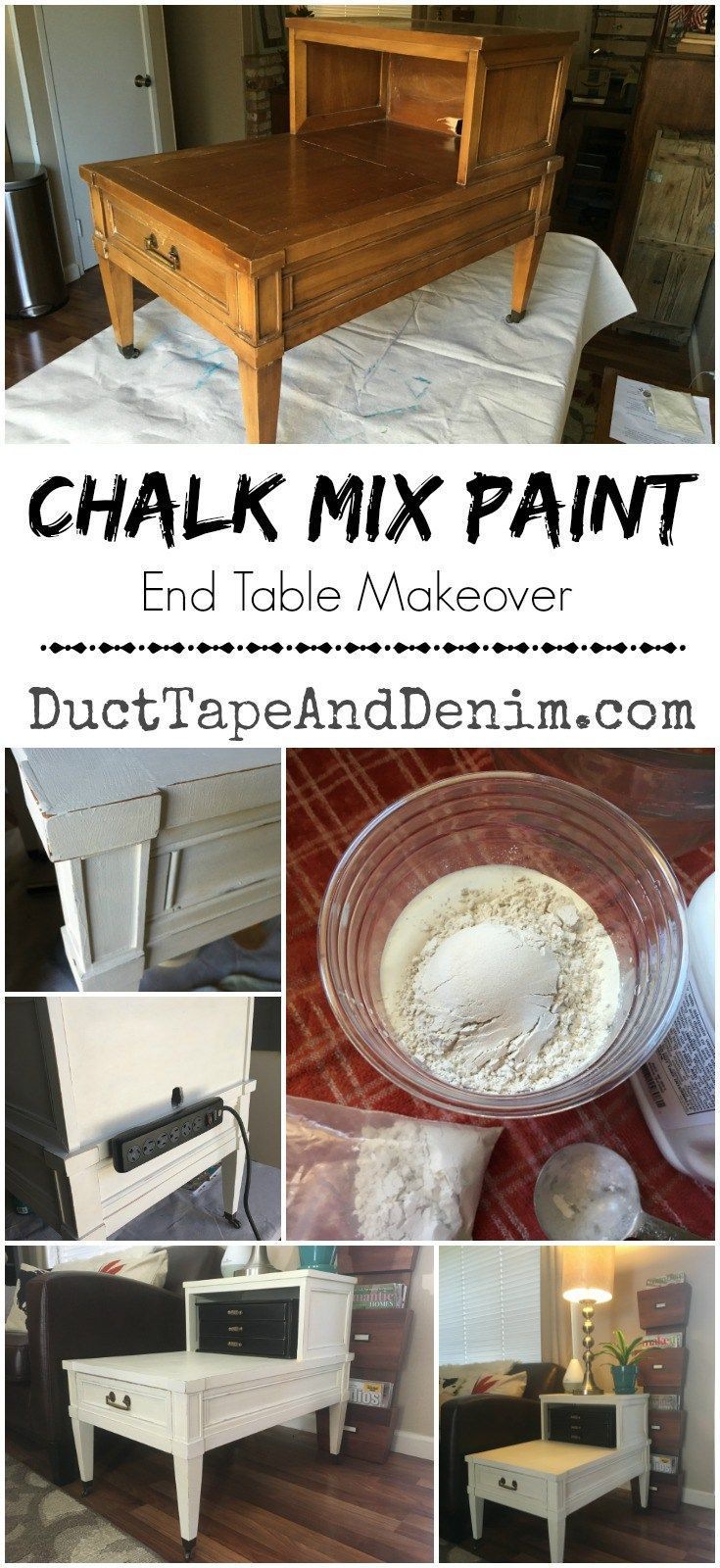 Chalk mix paint end table makeover | http://DuctTapeAndDenim.com
