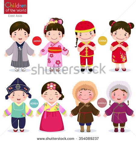 Kids in traditional costume; Japan, China, Korea and Mongolia - stock vector