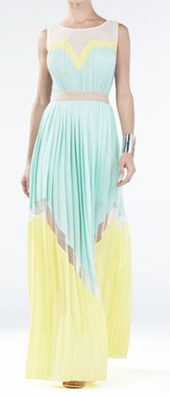 Gorgeous yellow and mint maxi dress