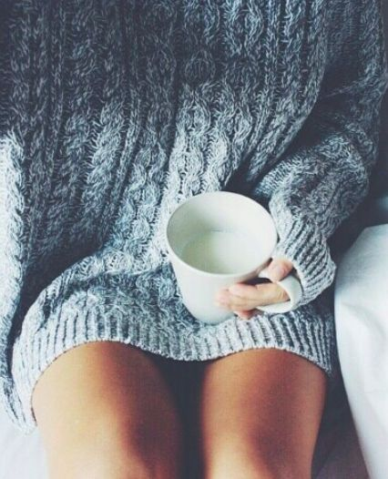Blue knitted sweater. So cozy!