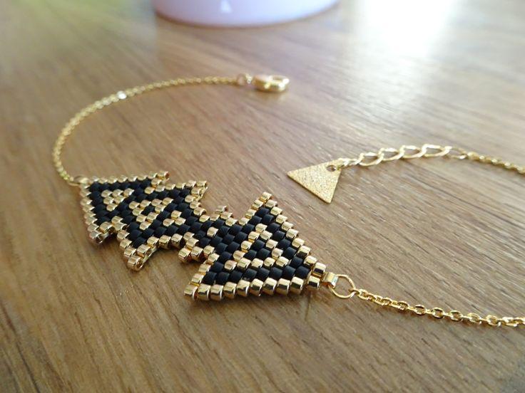 Bracelet fin chaine dorée à l'or fin et perles Miyuki