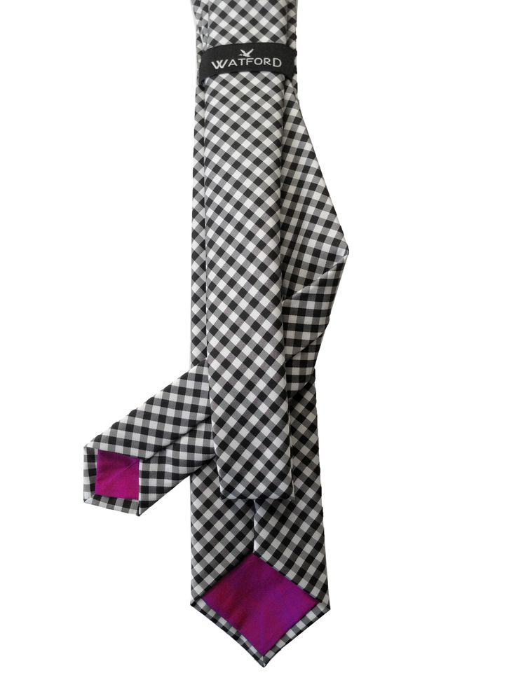 Polyester Gingham with Magenta Raw Silk tipping