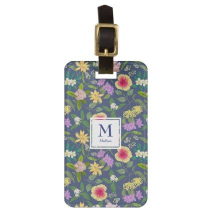Hand-painted Colorful Tropical Flowers Monogram Luggage Tag - pattern sample design template diy cyo customize