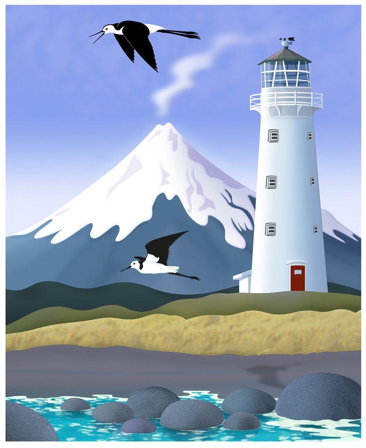 """Cape Egmont Lighthouse"", Taranaki. Featuring pied stilts. Digital art-print by Terry Fitz., 2014."