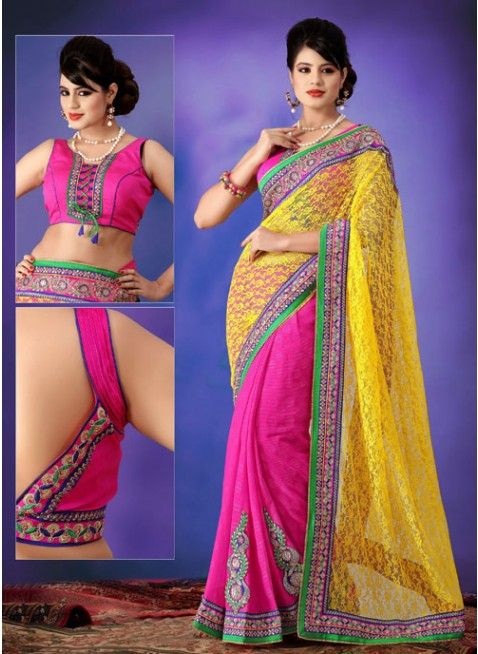 Gorgious pink and yellow embroidered #sarees #designersares #clothing #fashion #womenwear #womenapparel #ethnicwear