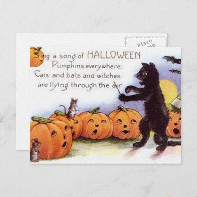 Vintage Halloween-Kunst-Postkarte | Zazzle