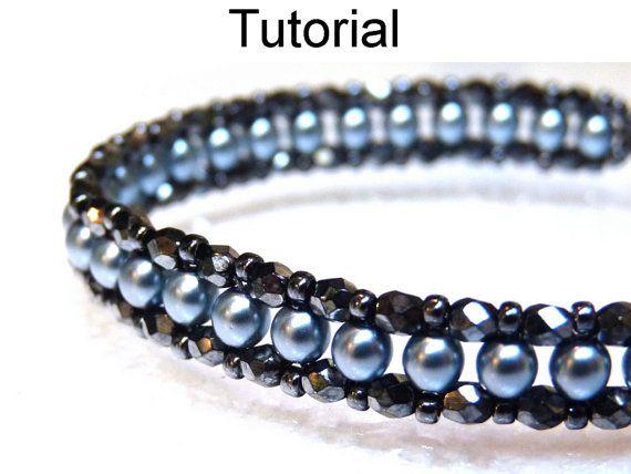 Beaded Bracelet Tutorials, Bead Stitching Tutorials, Bracelet Patterns, Seed Beads, Pearls, Tutorial, Right Angle Weave #452
