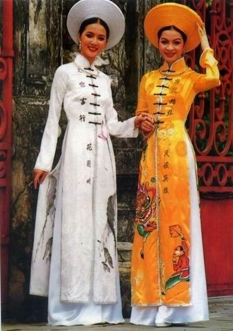 Vietnam  The áo dai is usually a tight fitting four or five-paneled tunic, worn over a flowing skirt or very loose pants. @ http://fashion.allwomenstalk.com
