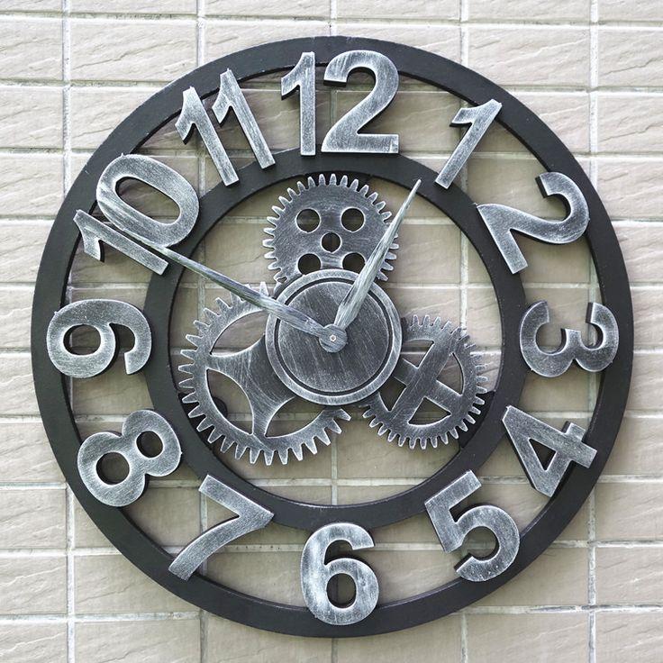 Artesanal de grandes dimensões 3D retro de luxo decorativa art grande engrenagem grande relógio de parede de madeira do vintage na parede para presente alishoppbrasil