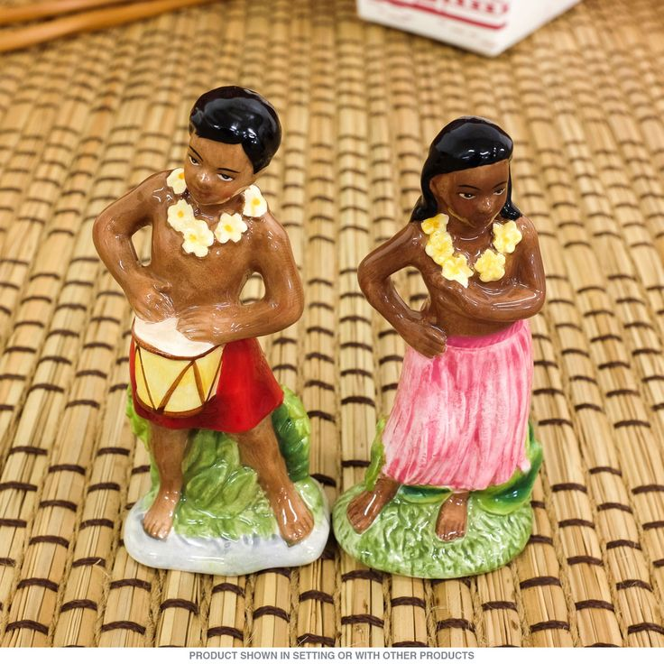 Go tropical with this Hawaiian Salt and Pepper Set! Perfect for your next pig roast, luau, or even barbecue, these ceramic salt and pepper shakers measure: 2  $9.99