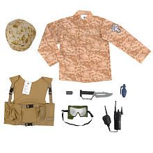 True Heroes Army Dress Up Set - Desert-Print Camo.  Just remove the knife and grenade and it's a great little dress up set for daycare.