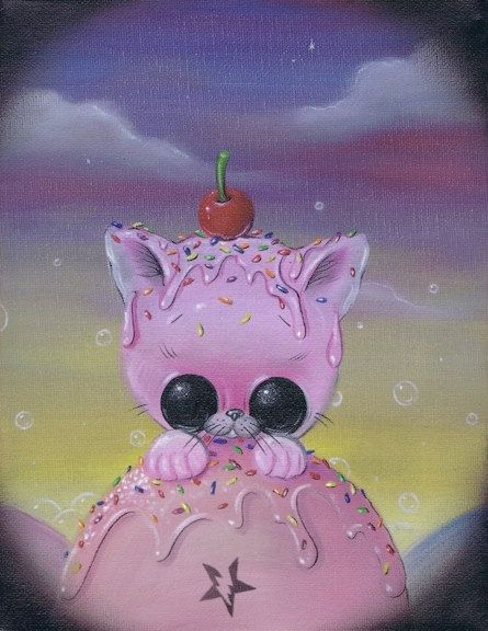 Sugar Fueled Pink Pity Kitty Kitten Cat Animal by Sugarfueledart