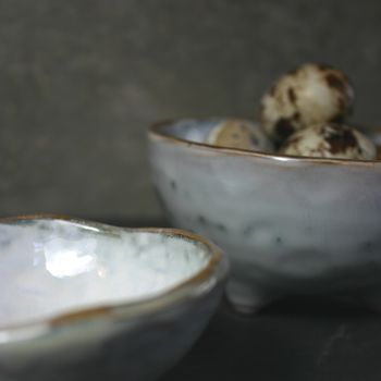 Two Handmade Bowls With Feet