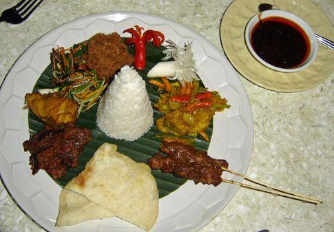 Nasi Campur or Mixed Rice at Mandarin Oriental Hotel Mahapahit, Surabaya, Indonesia.