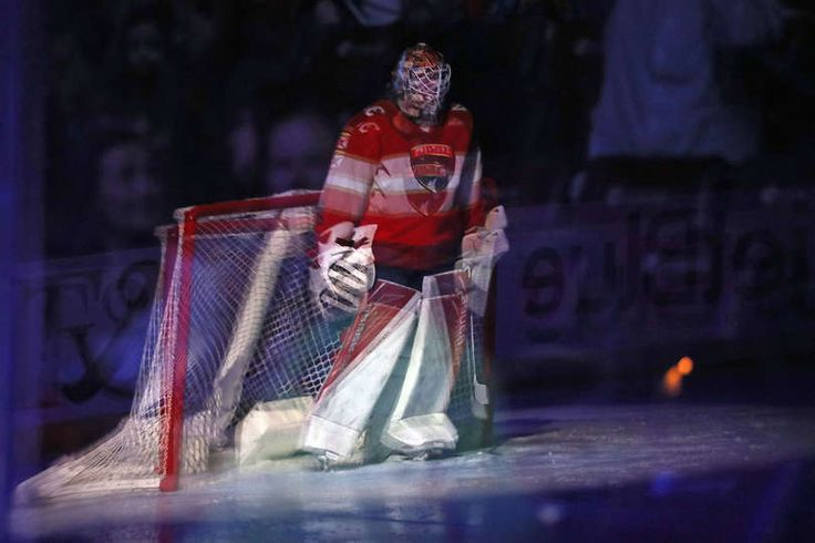 SUNRISE, FL - JANUARY 7: Goaltender James Reimer #34 of the Florida Panthers is reflected in the glass in front of the net prior to the start of the game against the Boston Bruins at the BB&T Center on January 7, 2017 in Sunrise, Florida. (Photo by Eliot J. Schechter/NHLI via Getty Images)
