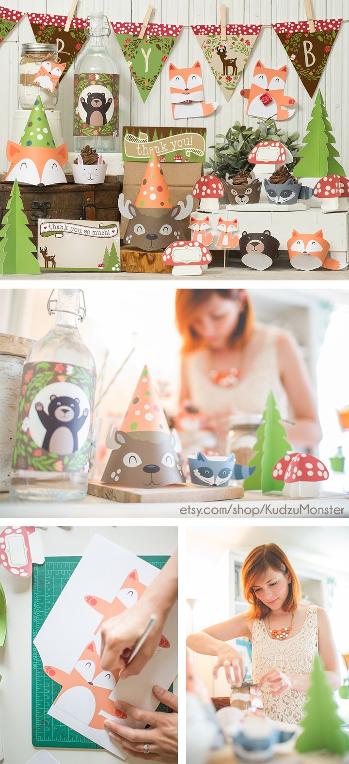 woodland party decor kit Instant Download on KudzuMonster.net or etsy.com/shop/Kudzumonster