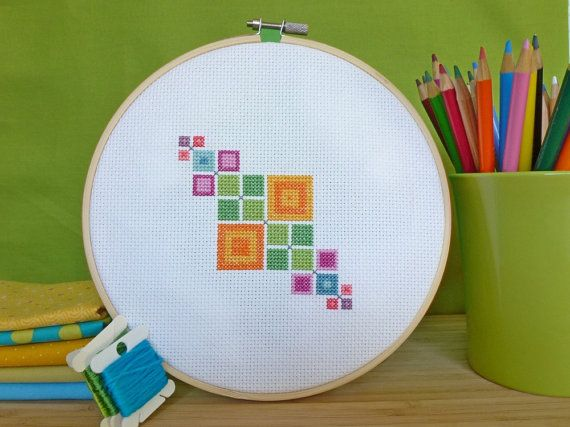 Geometric Squares Modern Cross Stitch by ModernStitchTherapy