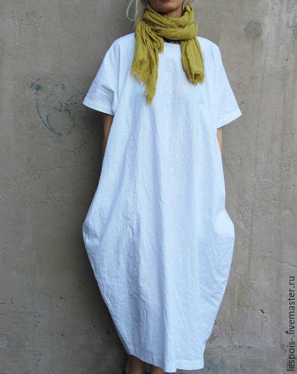 Купить Платье из хлопка - белый, белое платье, летнее платье, лен 100%, хлопок 100%