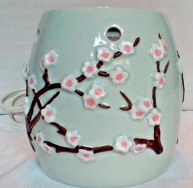 Cherry Blossom Design Ceramic Electric Illumination Vase Type G Lamp 25W Max #Unbranded #Contemporary