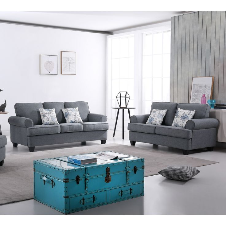 Audrey Mid Century Fabric Sofa Set | Overstock.com Shopping - The Best Deals on Living Room Sets