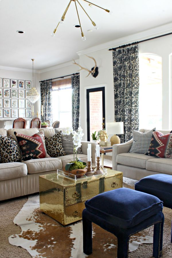 Dimples and Tangles: EARLY FALL HOME TOUR {2015}   Fall decor || sputnik light || brass trunk coffee table || black and white, leopard, and kilim pillows ||  cowhide rug  ||  neutral with pops of color