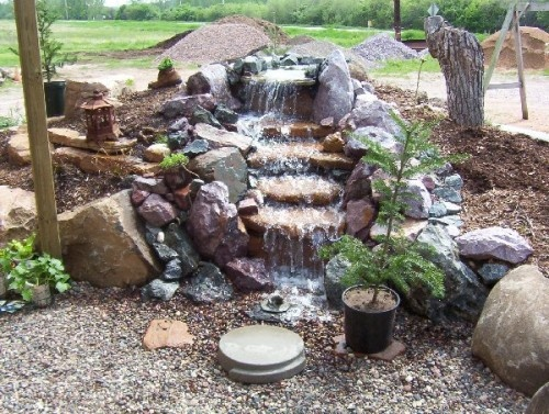 46 best images about waterfall on pinterest front yards for Small waterfall garden designs