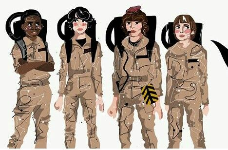 Stranger Things FanArt Credit: @Castixell Lucas, Mike, Dustin and Will dressed as ghostbusters